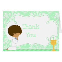 African American Boy First Communion 'Thank You' Card
