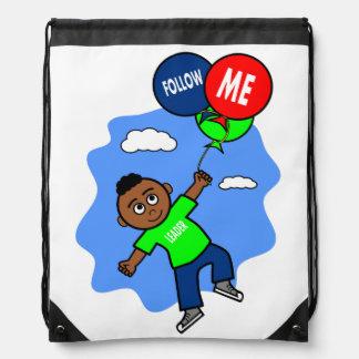 African American Boy Flying with Balloons Cartoon Drawstring Bag