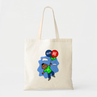African American Boy Hanging onto Balloons Tote Bag