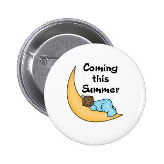 African American Boy on Moon Summer Pinback Button