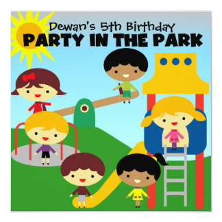 African American Boy Party in the Park Invite