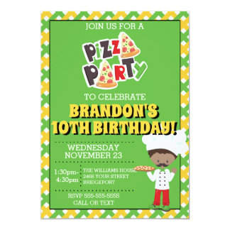African American Boy Pizza Party Birthday Invite
