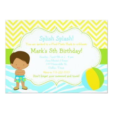 Beach Themed African American Boy Pool Party Bash Party Card