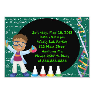 "African American Boy Scientist Party Invitation 5"" X 7"" Invitation Card"