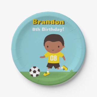 African American Boy Soccer Birthday Party Plates