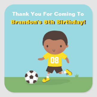 African American Boy Soccer Birthday Party Sticker