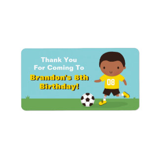 African American Boy Soccer Thank You Labels