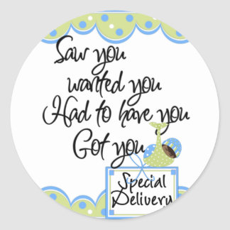 African American Boy Special Delivery Cards Classic Round Sticker