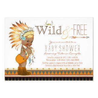 African American Boys Tribal Boho Baby Shower Card