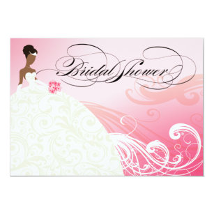 african american bride bridal shower baby pink invitation