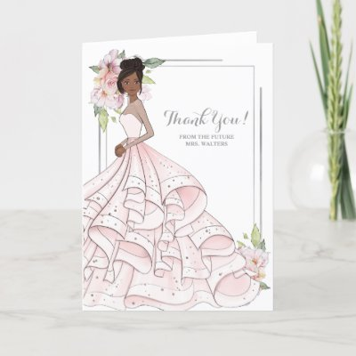 African American  Bride Bridal Shower Future Mrs Thank You Card