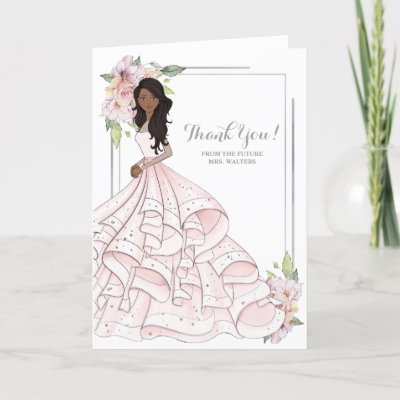 African American Bride Bridal Shower Future Mrs. Thank You Card