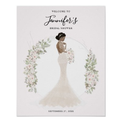 African American Bride Bridal Shower Welcome Sign