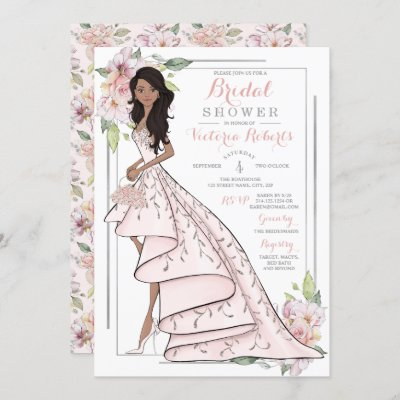African American Bride Floral Bridal Shower Invitation
