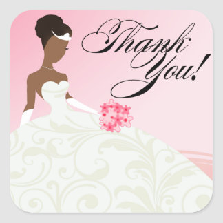 AFRICAN AMERICAN BRIDE Thank You | Baby Pink Square Sticker