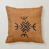 African American brown black mud cloth pattern Throw Pillow