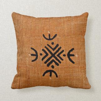 African American brown black mud cloth pattern Throw Pillow