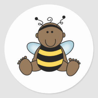 African American Bumble Bee Baby Classic Round Sticker