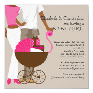 African American Carriage Couple Baby Shower Card