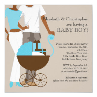 African American Carriage Couple Baby Shower Invitation