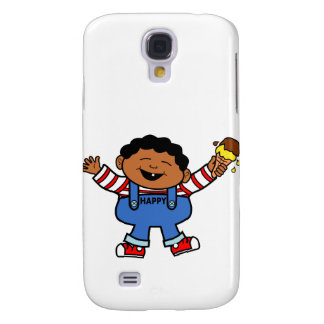African American Cartoon Boy holding Ice Cream Galaxy S4 Cover