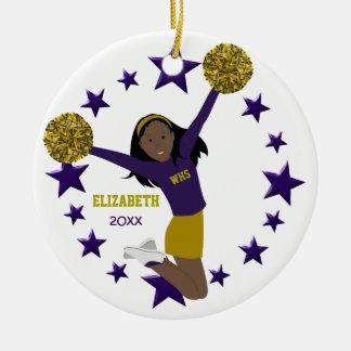 African American Cheerleader Purple & Gold Ceramic Ornament