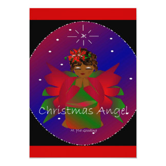 African-American Christmas Angel Baby Girl Praying 5x7 Paper Invitation Card