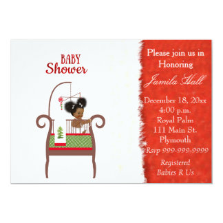 African American Christmas Baby Shower Invitation