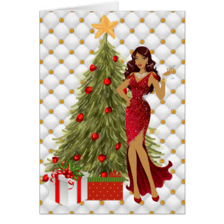 African American Christmas Card with Beautiful