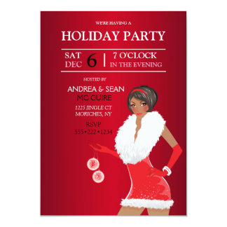African American Christmas Fashion Girl Holiday Card