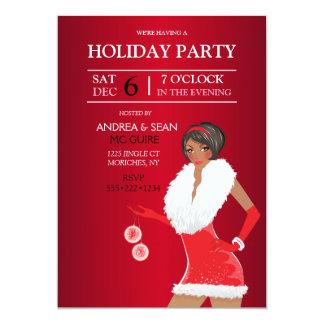 African American Christmas Fashion Girl Holiday Card