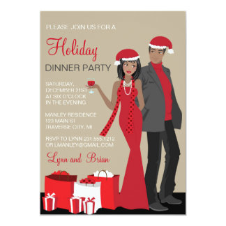 African American Couple Christmas Party Dinner Card
