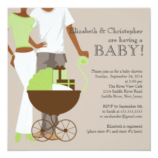 African American Couple Gender Neutral Baby Shower 5.25x5.25 Square Paper Invitation Card