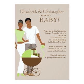 "African American Couple Gender Neutral Baby Shower 5"" X 7"" Invitation Card"