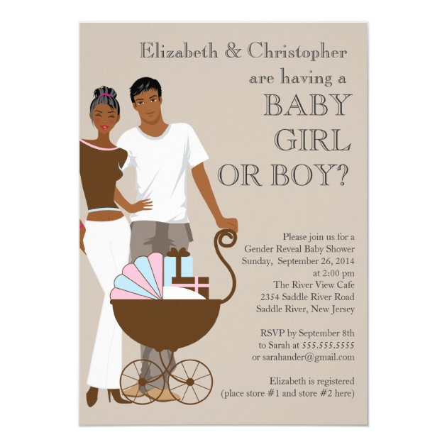 African American Couple Gender Reveal Baby Shower 5x7 Paper Invitation Card
