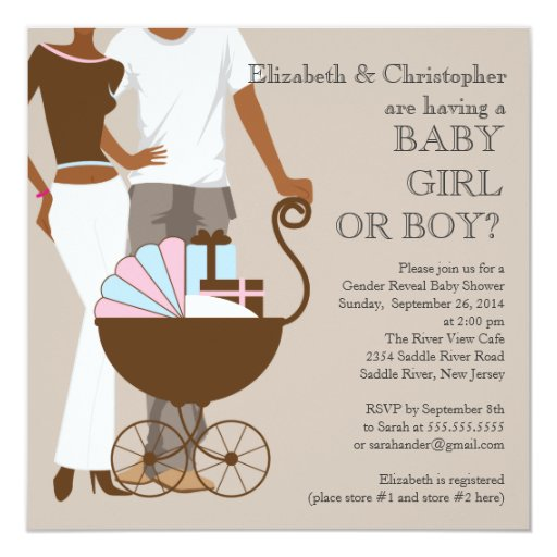 African American Couple Gender Reveal Baby Shower 5.25x5.25 Square Paper Invitation Card | Zazzle