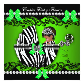 African American Couples Baby Shower Girl Zebra Card