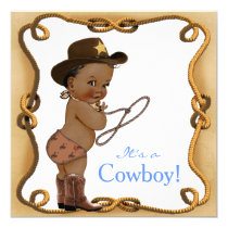 African American Cowboy Baby Shower Invitation