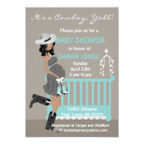 African American Cowboy Baby Shower Invitations