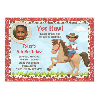 African American Cowboy Horse Kids Birthday Party Card