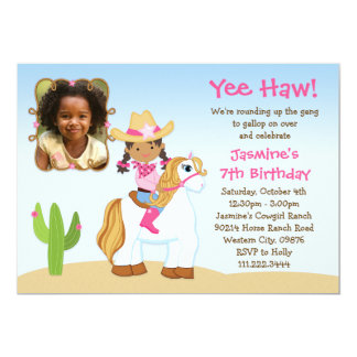 African American Cowgirl Horse Birthday Party Card