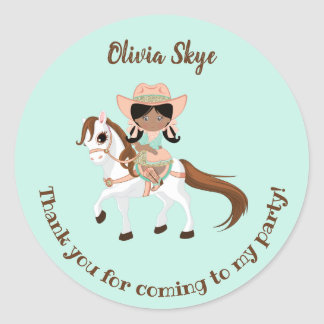 African American Cowgirl on Horse Girls Birthday Classic Round Sticker