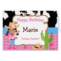 African American Cowgirl Western Birthday Card