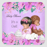 African American Cute Baby Shower Girl  Puppy Square Sticker