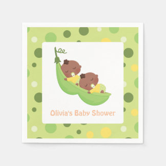 African American Cute Twins Baby Shower Napkins