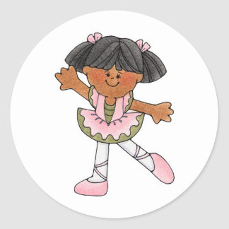 African American Dancing Girl Round Stickers