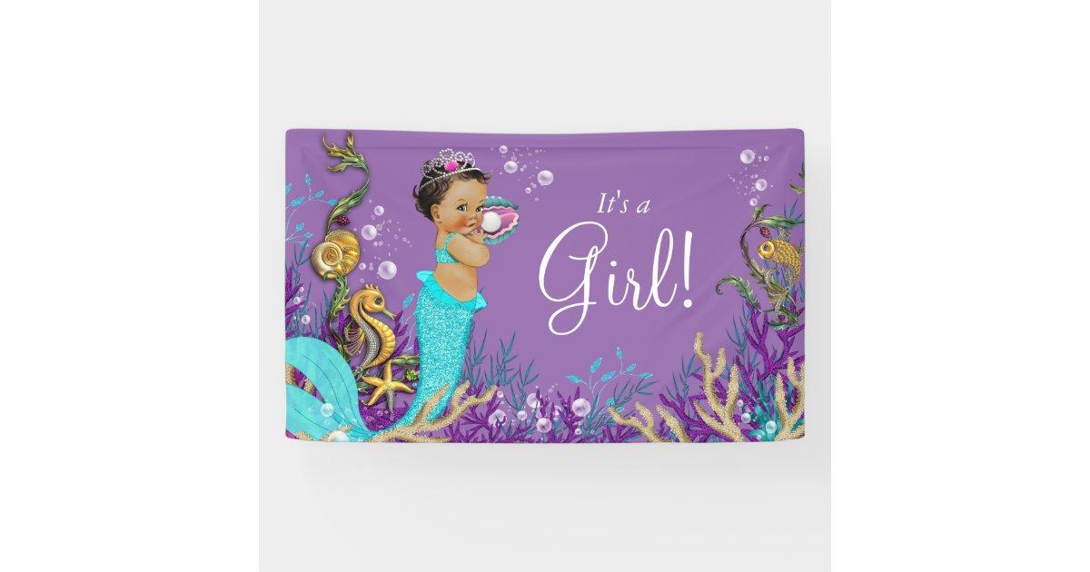 African American Ethnic Mermaid Baby Shower Banner
