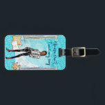 """African American Fashion Girl luggage tag<br><div class=""""desc"""">This beautiful luggage tag will be the envy of anyone that sees it. It also asks people to keep their hands off your bag.  Perfect for any gift giving occasion.</div>"""