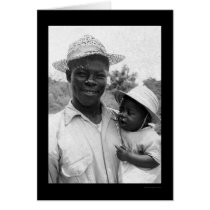 African American Father and Baby 1935 Card
