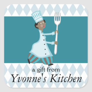 African American female chef pantaloons food label Square Sticker